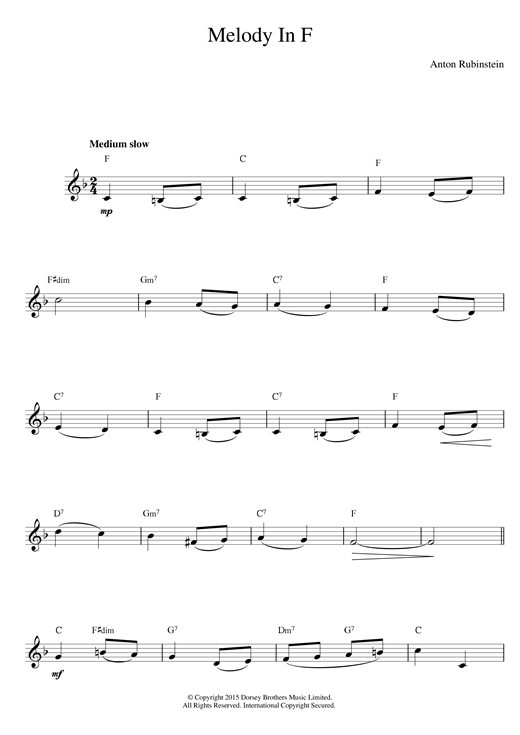 Anton Rubinstein Melody In F sheet music notes and chords. Download Printable PDF.