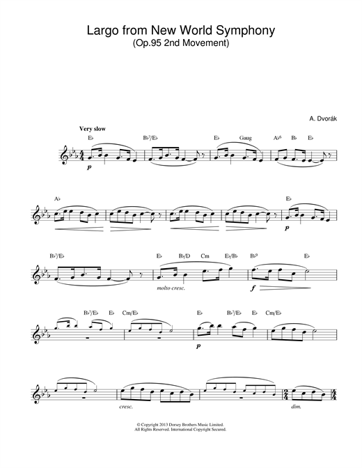 Antonin Dvorak Largo (from The New World) sheet music notes and chords
