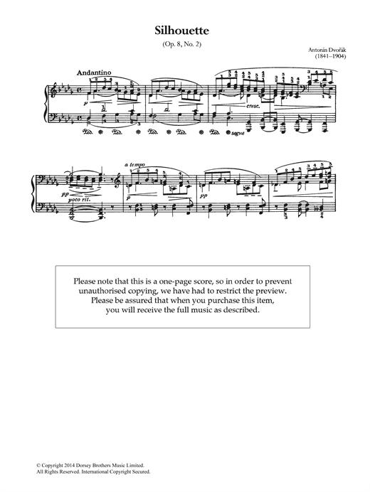 Antonin Dvorak Silhouette, Op.8 No.2 sheet music notes and chords. Download Printable PDF.