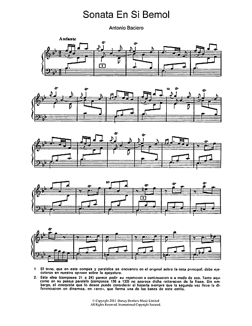 Antonio Baciero Sonata En Si Bemol sheet music notes and chords