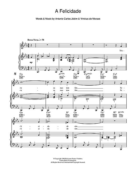 Antonio Carlos Jobim A Felicidade sheet music notes and chords. Download Printable PDF.