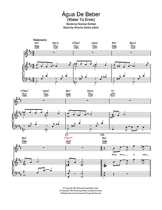 Antonio Carlos Jobim Agua De Beber (Drinking Water) sheet music notes and chords. Download Printable PDF.