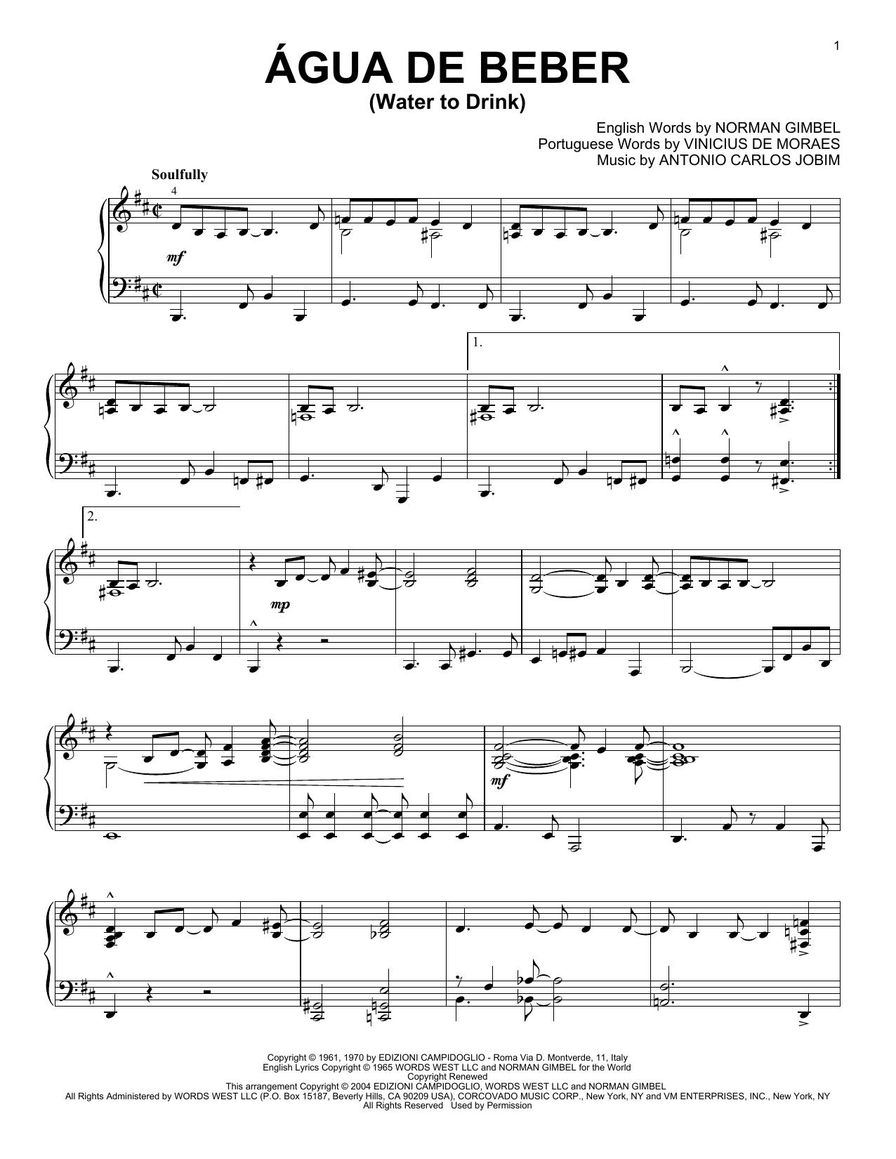 Antonio Carlos Jobim Agua De Beber (Water To Drink) sheet music notes and chords. Download Printable PDF.