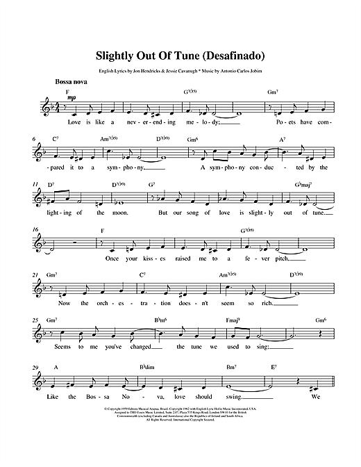 Antonio Carlos Jobim Desafinado (Slightly Out Of Tune) sheet music notes and chords. Download Printable PDF.