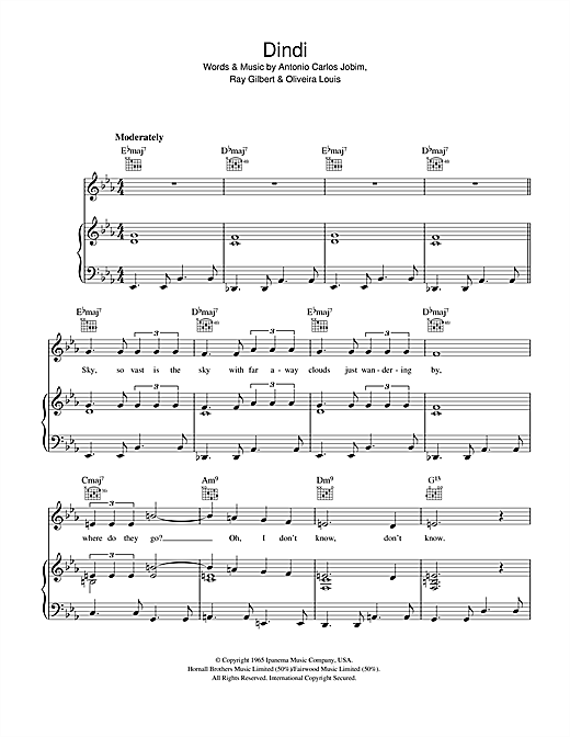 Antonio Carlos Jobim Dindi sheet music notes and chords. Download Printable PDF.