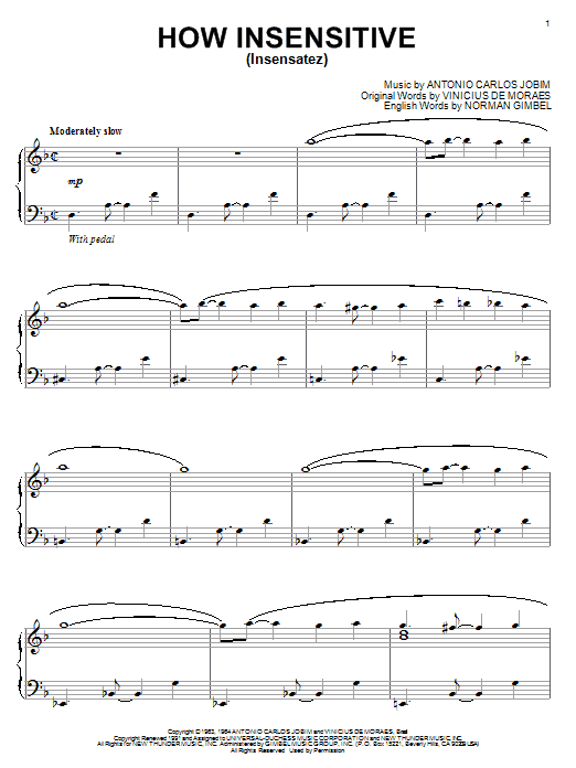 Antonio Carlos Jobim How Insensitive (Insensatez) sheet music notes and chords. Download Printable PDF.