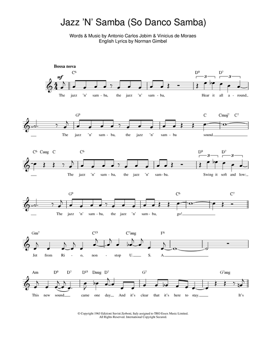 Antonio Carlos Jobim Jazz 'n' Samba sheet music notes and chords