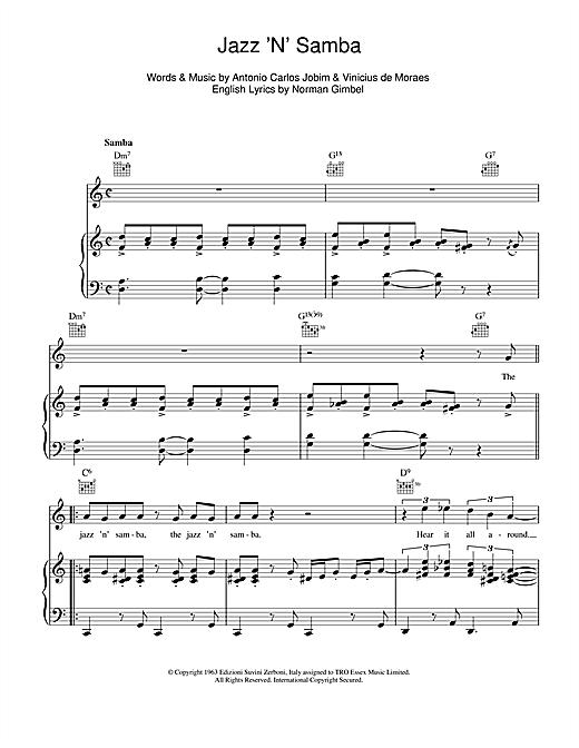Antonio Carlos Jobim Jazz 'N' Samba (So Danco Samba) sheet music notes and chords