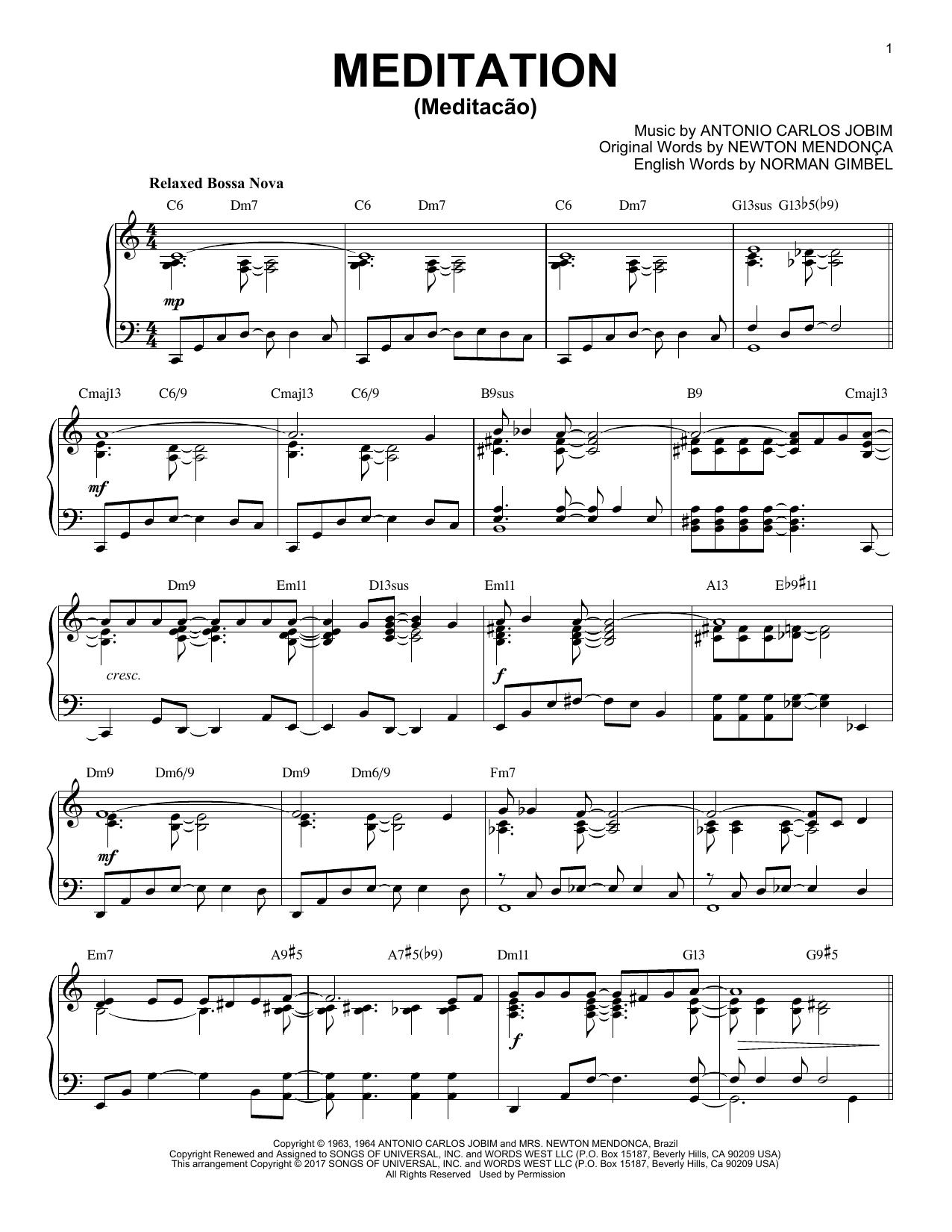 Antonio Carlos Jobim Meditation (Meditacao) [Jazz version] sheet music notes and chords. Download Printable PDF.