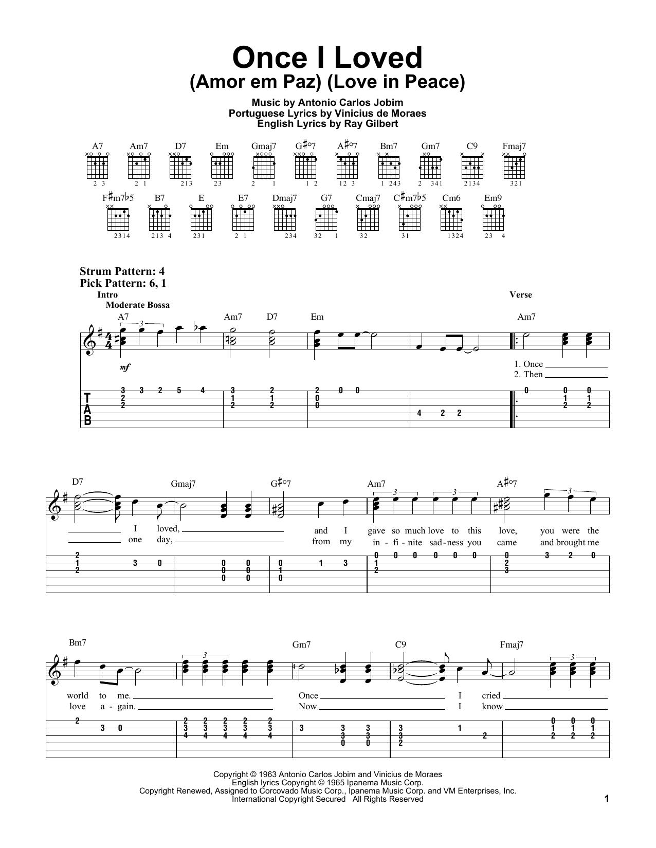Antonio Carlos Jobim Once I Loved (Amor Em Paz) (Love In Peace) sheet music notes and chords. Download Printable PDF.