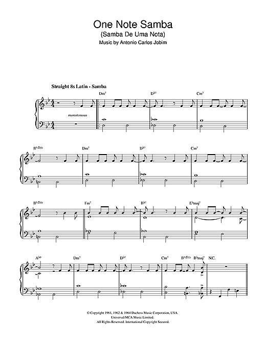 Antonio Carlos Jobim One Note Samba (Samba De Uma Nota) sheet music notes and chords. Download Printable PDF.