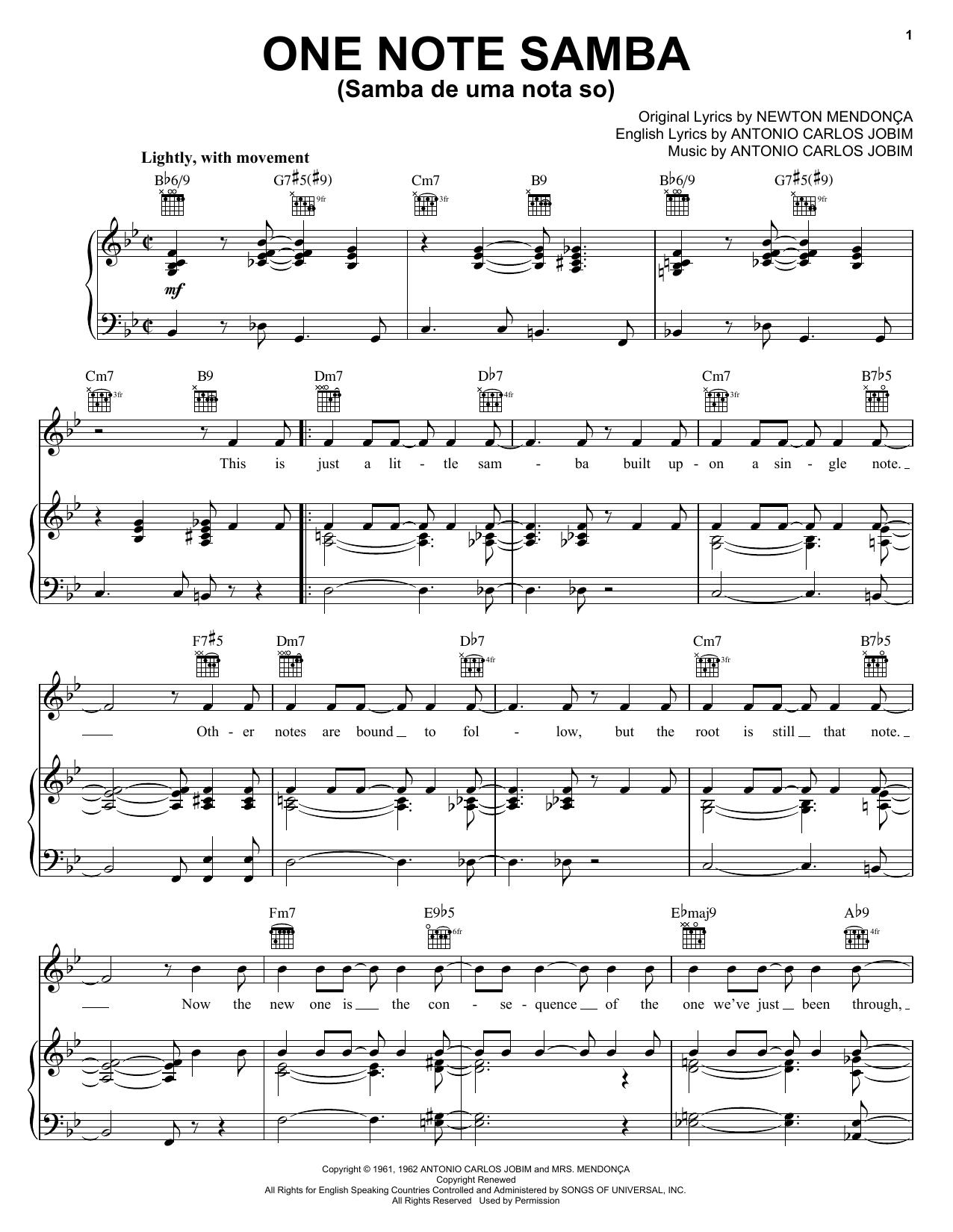Antonio Carlos Jobim One Note Samba (Samba De Uma Nota So) sheet music notes and chords. Download Printable PDF.