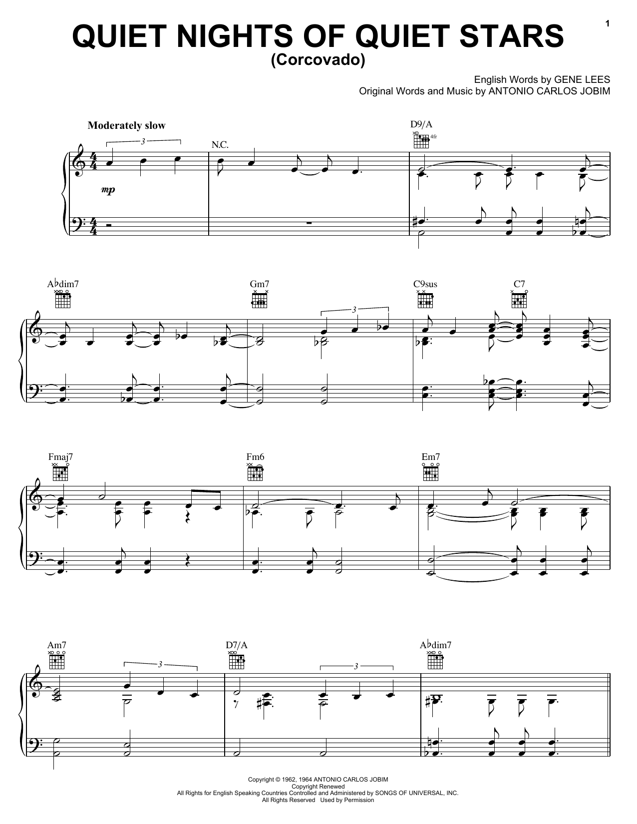 Antonio Carlos Jobim Quiet Nights Of Quiet Stars (Corcovado) sheet music notes and chords. Download Printable PDF.
