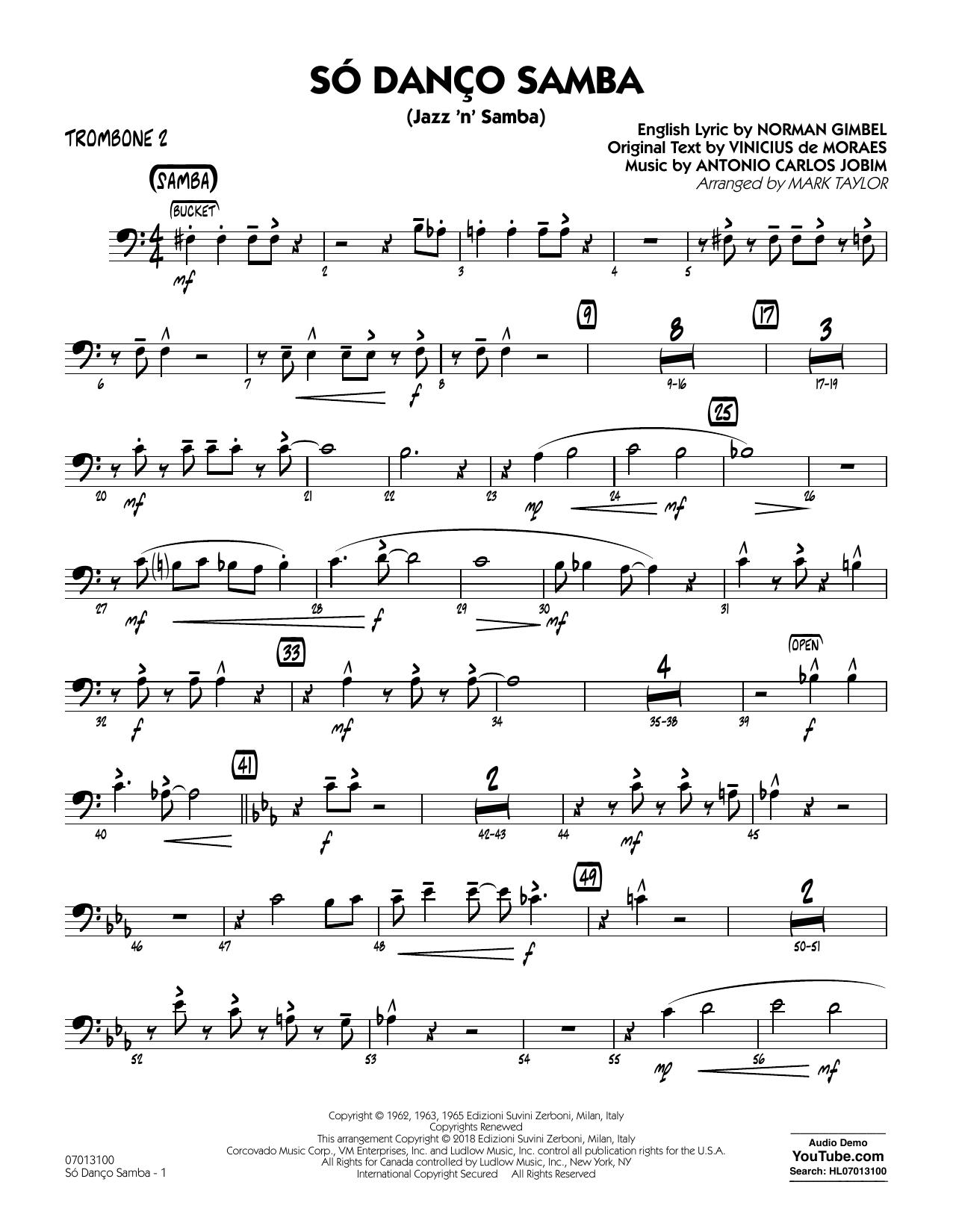 Antonio Carlos Jobim Só Danço Samba (Jazz 'n' Samba) (arr. Mark Taylor) - Trombone 2 sheet music notes and chords