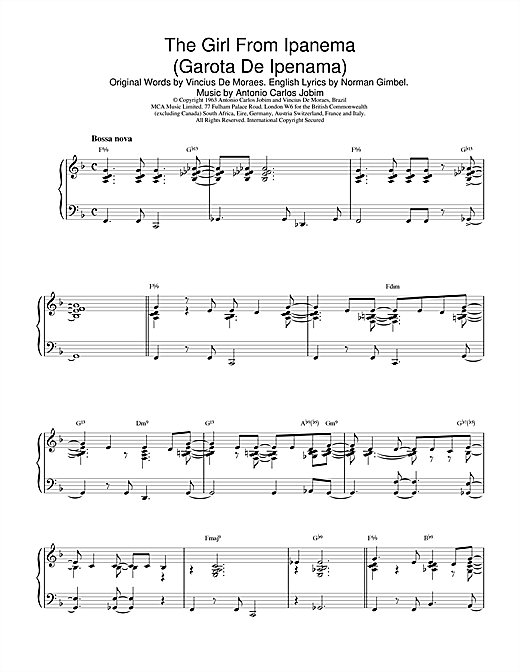 Antonio Carlos Jobim The Girl From Ipanema (Garota De Ipanema) sheet music notes and chords
