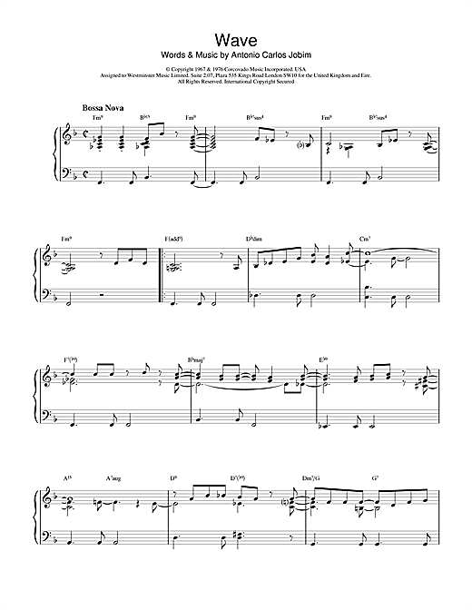 Antonio Carlos Jobim Wave sheet music notes and chords. Download Printable PDF.