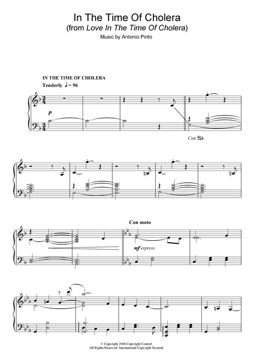 Antonio Pinto In The Time Of Cholera (from Love In The Time Of Cholera) sheet music notes and chords. Download Printable PDF.