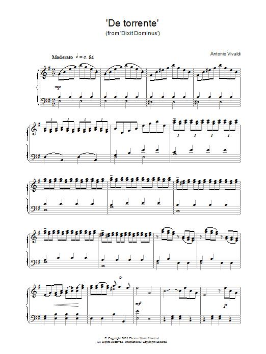 Antonio Vivaldi De Torrente (from Dixit Dominus) sheet music notes and chords. Download Printable PDF.