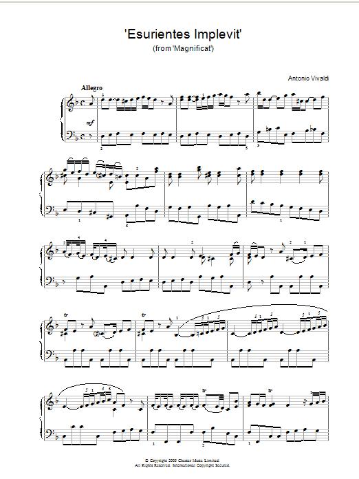 Antonio Vivaldi Esurientes Implevit (from Magnificat) sheet music notes and chords. Download Printable PDF.