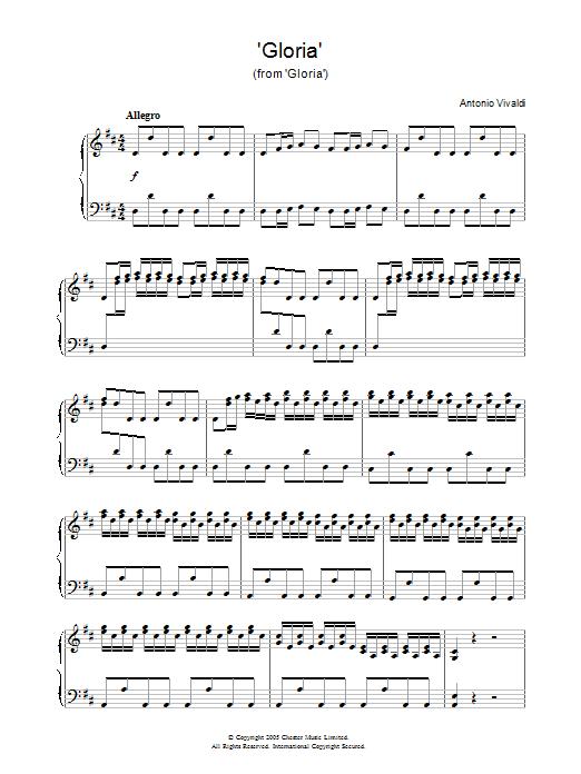 Antonio Vivaldi Gloria (from Gloria) sheet music notes and chords. Download Printable PDF.