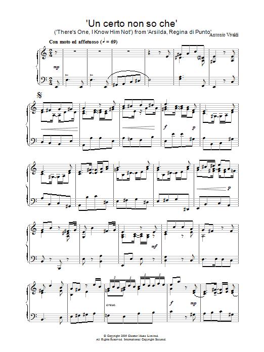 Antonio Vivaldi Un certo non so che (There's One, I Know Him Not) from 'Arsilda, Regina di Punto' sheet music notes and chords. Download Printable PDF.