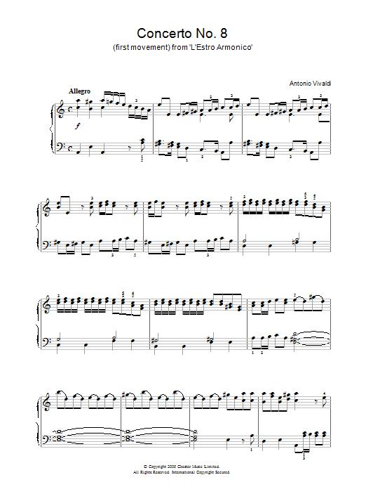 Antonio Vivaldi Concerto No.8 (1st Movement: Allegro) from 'L'Estro Armonico' Op.3 sheet music notes and chords. Download Printable PDF.