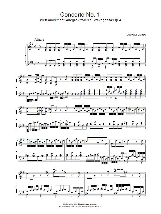 Antonio Vivaldi Concerto No.1 (1st Movement: Allegro) from 'La Stravaganza' Op.4 sheet music notes and chords. Download Printable PDF.