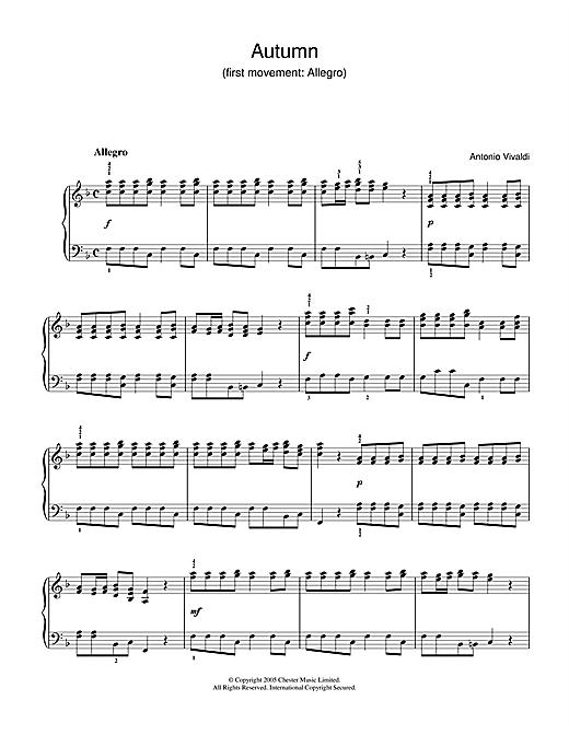 Antonio Vivaldi Autumn (1st Movement: Allegro) sheet music notes and chords. Download Printable PDF.