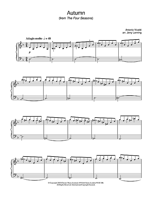 Antonio Vivaldi Autumn, 2nd movement (from The Four Seasons) sheet music notes and chords. Download Printable PDF.