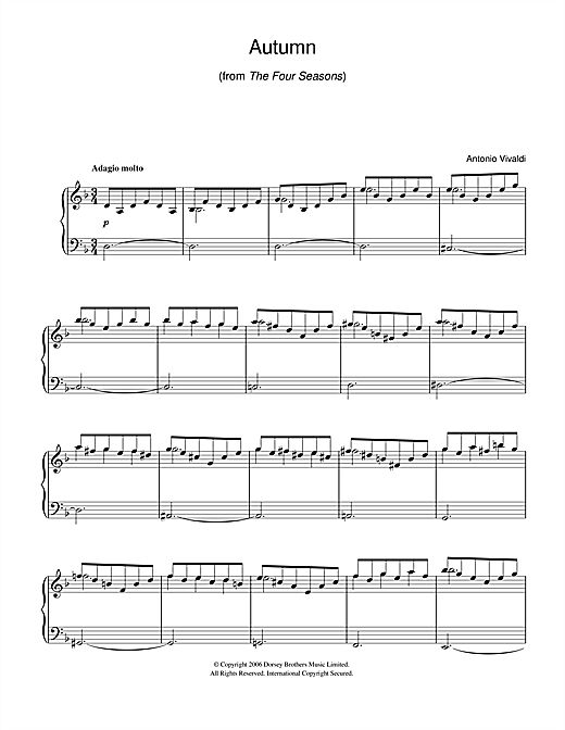 Antonio Vivaldi Autumn (from The Four Seasons) sheet music notes and chords