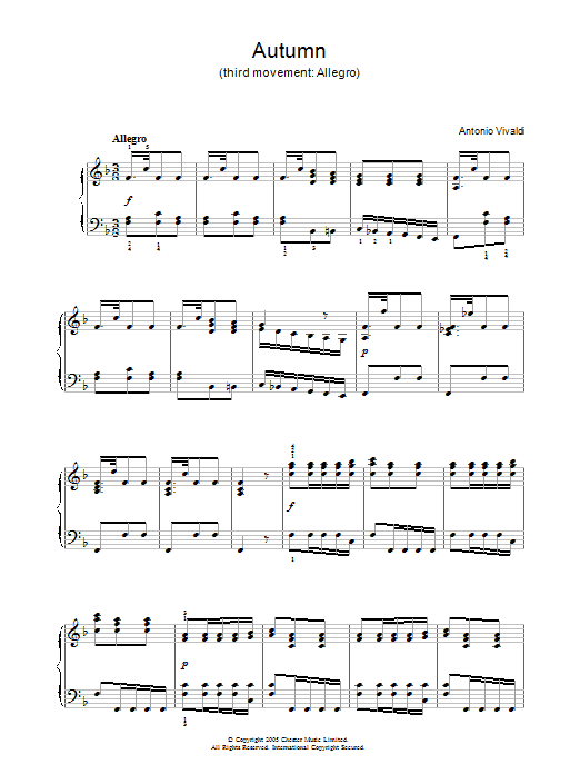 Antonio Vivaldi Autumn (3rd Movement: Allegro) sheet music notes and chords. Download Printable PDF.