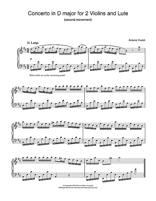 Antonio Vivaldi Concerto in D major for 2 Violins and Lute (2nd Movement) sheet music notes and chords