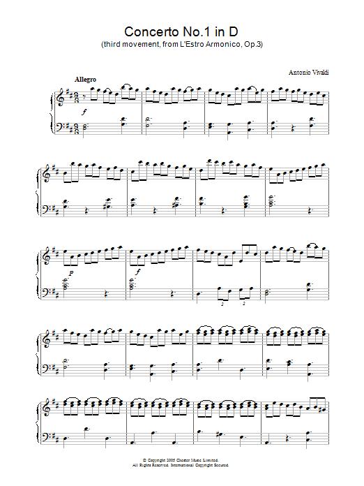 Antonio Vivaldi Concerto No.1 (3rd Movement: Allegro) from 'L'Estro Armonico' Op.3 sheet music notes and chords. Download Printable PDF.