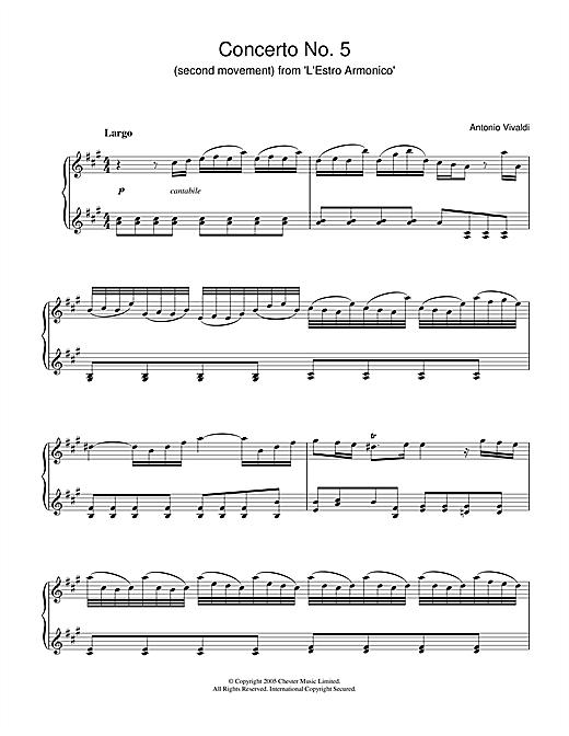 Antonio Vivaldi Concerto No.5 (2nd Movement: Largo) from 'L'Estro Armonico' Op.3 sheet music notes and chords. Download Printable PDF.