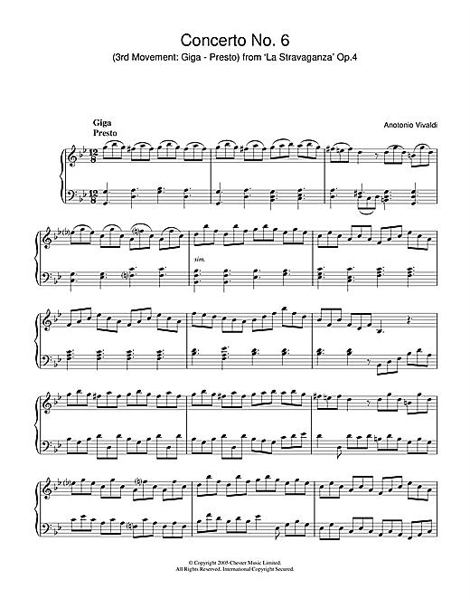 Antonio Vivaldi Concerto No.6 (3rd Movement: Giga, Presto) from 'La Stravaganza' Op.4 sheet music notes and chords