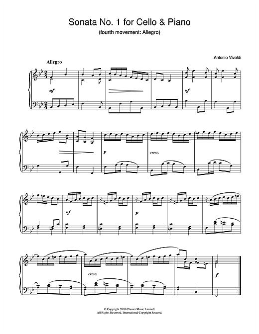 Antonio Vivaldi Sonata No.1 for Cello & Piano (4th Movement: Allegro) sheet music notes and chords