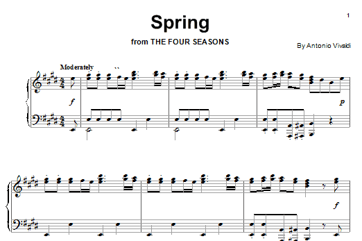 Antonio Vivaldi Spring (from The Four Seasons) sheet music notes and chords. Download Printable PDF.