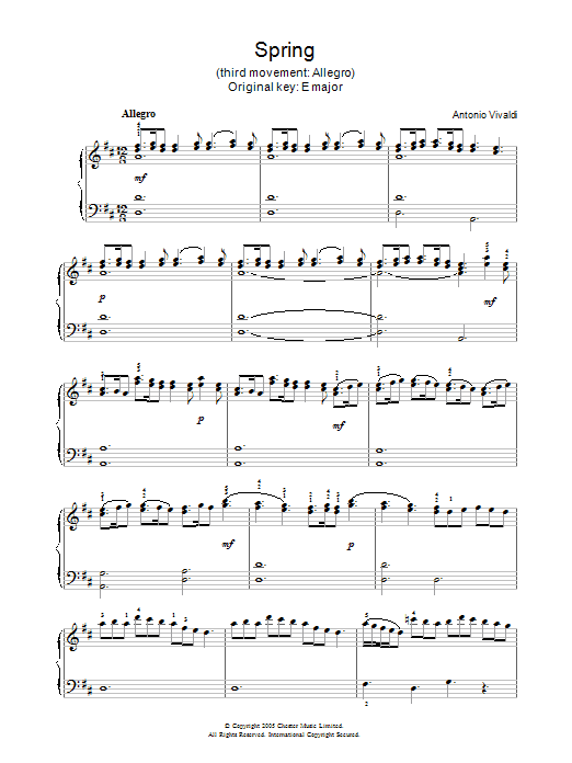 Antonio Vivaldi Spring (3rd movement: Allegro) sheet music notes and chords. Download Printable PDF.