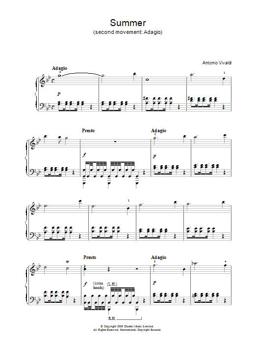 Antonio Vivaldi Summer (2nd Movement: Adagio) sheet music notes and chords. Download Printable PDF.