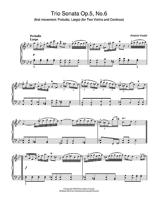 Antonio Vivaldi Trio Sonata Op.5, No.6 (1st Movement: Preludio, Largo) (for Two Violins and Continuo) sheet music notes and chords. Download Printable PDF.