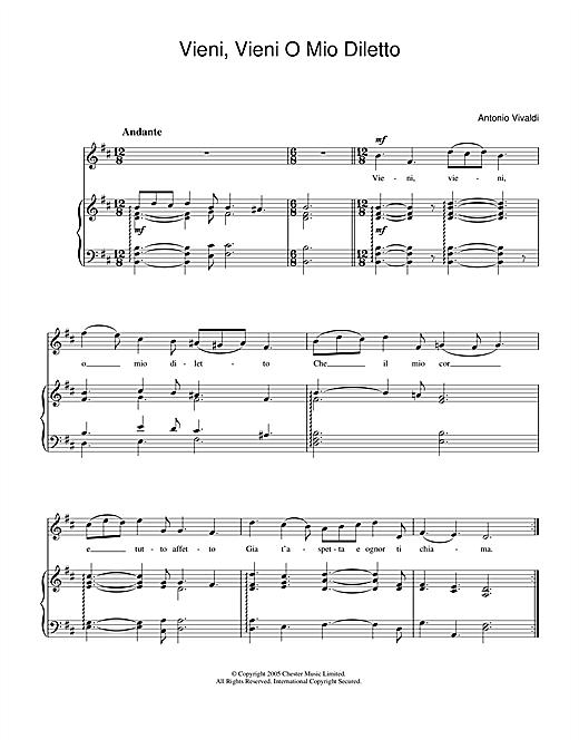 Antonio Vivaldi Vieni, Vieni O Mio Diletto sheet music notes and chords. Download Printable PDF.