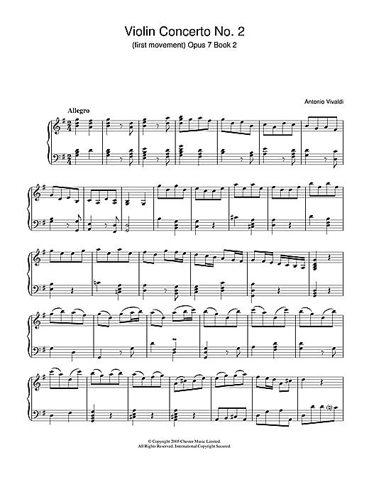 Antonio Vivaldi Violin Concerto No.2 (1st Movement: Allegro Op.7, Book 2 sheet music notes and chords. Download Printable PDF.