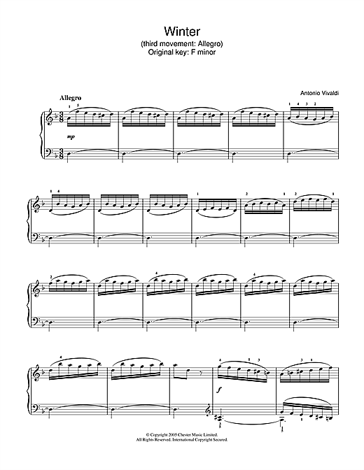 Antonio Vivaldi Winter from The Four Seasons (Third movement: Allegro) sheet music notes and chords