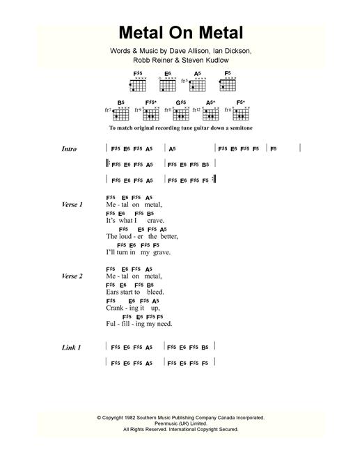 Anvil Metal On Metal sheet music notes and chords. Download Printable PDF.