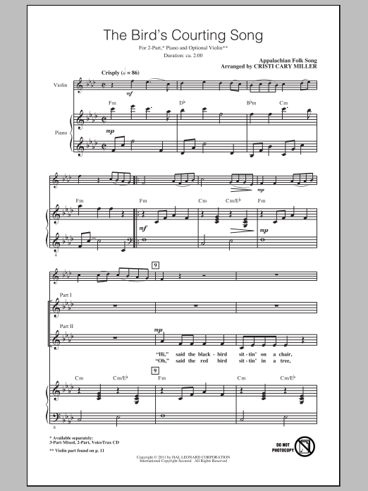 Appalachian Folk Song The Bird's Courting Song (arr. Cristi Cary Miller) sheet music notes and chords. Download Printable PDF.