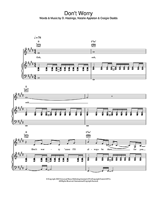Appleton Don't Worry sheet music notes and chords. Download Printable PDF.