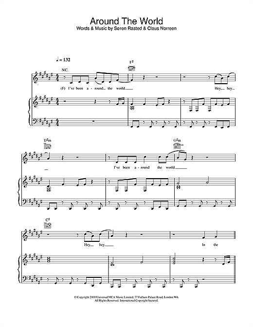 Aqua Around The World sheet music notes and chords. Download Printable PDF.