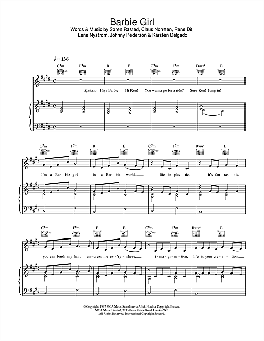 Aqua Barbie Girl sheet music notes and chords