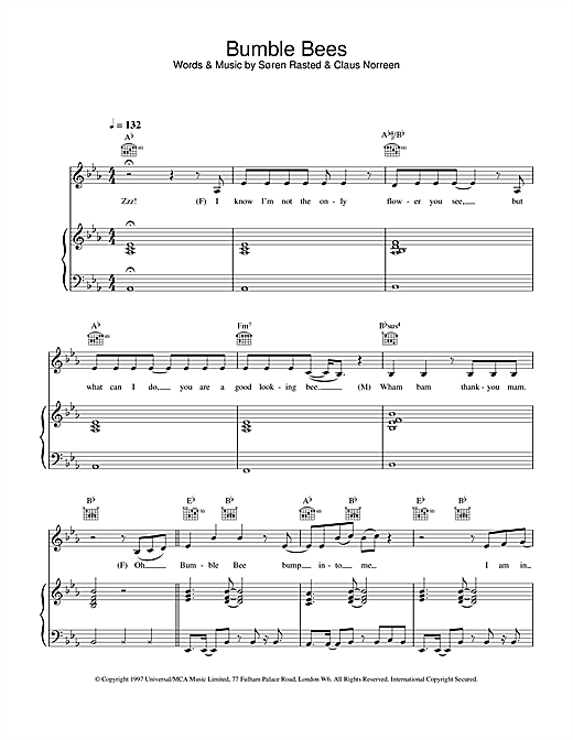 Aqua Bumble Bees sheet music notes and chords
