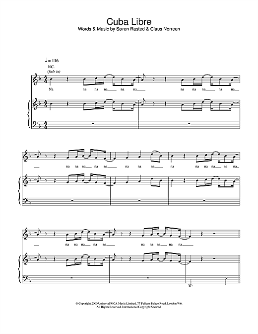 Aqua Cuba Libre sheet music notes and chords